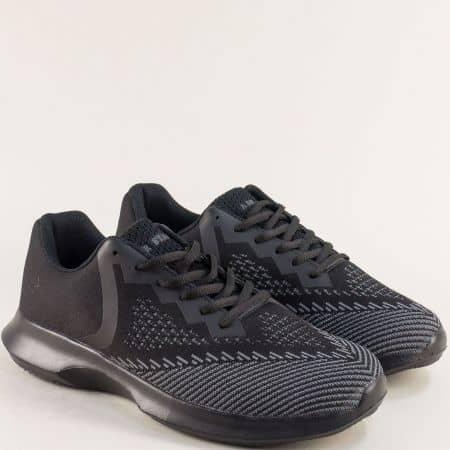 Мъжки маратонки с връзки в черно и сиво- MAT STAR 091152ch