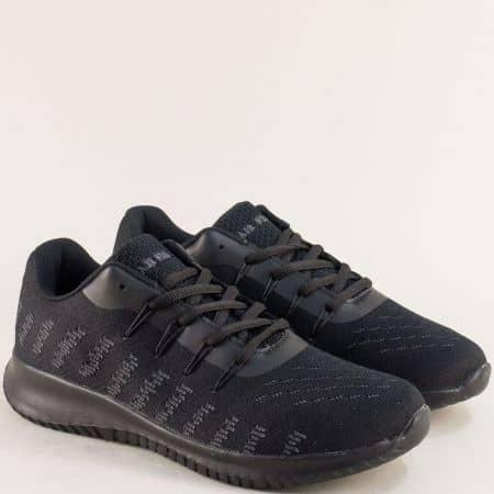 Мъжки маратонки- MAT STAR с връзки в черен цвят 091153ch