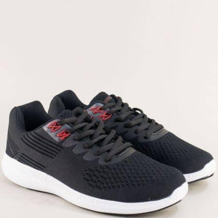 Черни мъжки маратонки с връзки на бяло ходило- MAT STAR 091156ch