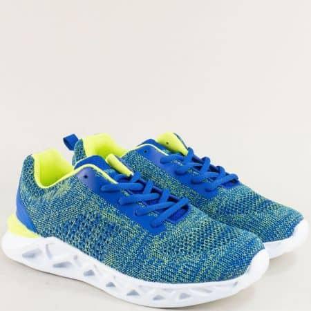 Дамски маратонки в зелено и синьо с връзки- MAT STAR 091158s