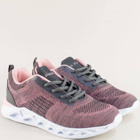 Дамски маратонки в сиво и розово с връзки- MAT STAR 091158sv