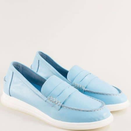 Комфортни кожени дамски обувки в син цвят 093710s
