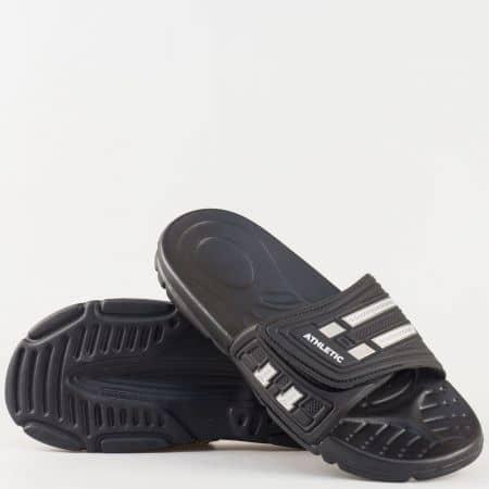 Мъжки удобни джапанки с велкро лента на гъвкаво ходило в черен цвят 096ch