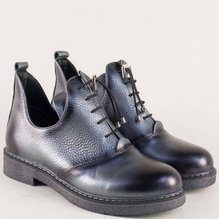 Кожени дамски обувки на нисък ток в сребрист цвят 315418sr