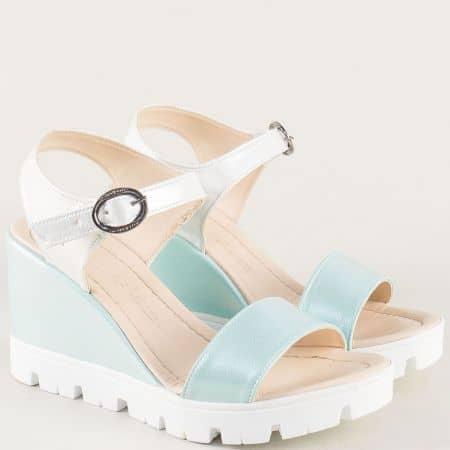 Дамски сандали на платформа в зелено и бяло 100760sbz