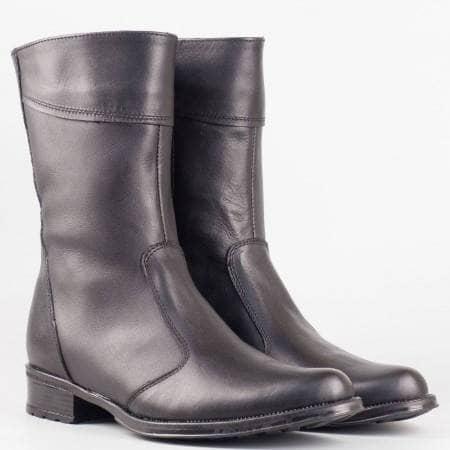 Дамски ежедневни боти произведени от висококачествена естествена кожа на български произоводител в черен цвят 1002027ch