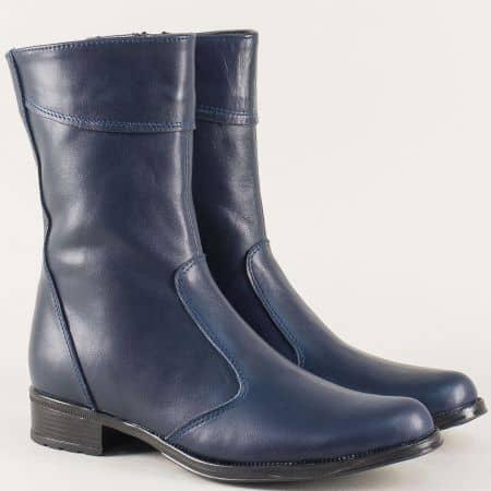 Сини дамски боти на нисък ток от естествена кожа 1002027s