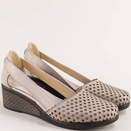 Сиви дамски обувки на платформа от естествена кожа с дупки 10020450sv