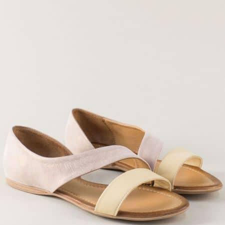 Равни дамски сандали в жълто и розово с кожена стелка 100317rz