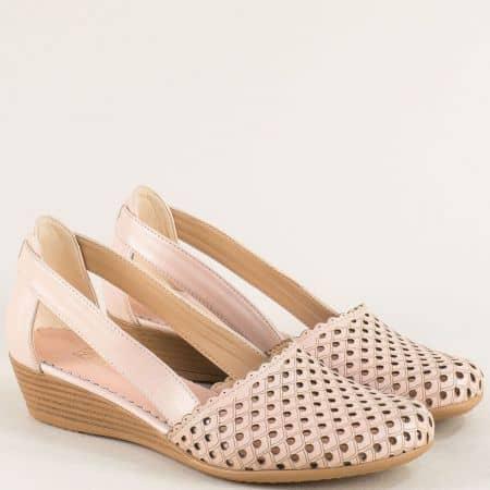 Естествена кожа дамски обувки в розов цвят 1004578rz