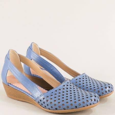 Сини дамски сандали от естествена кожа на клин ходило  1004578s