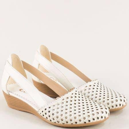 Перфорирани дамски сандали на клин ходило в бежово 1004578sbj