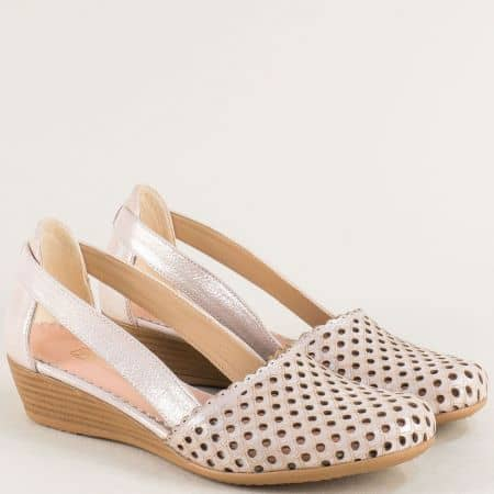 Дамски сандали от естествена кожа и сатен в розов цвят 1004578srz