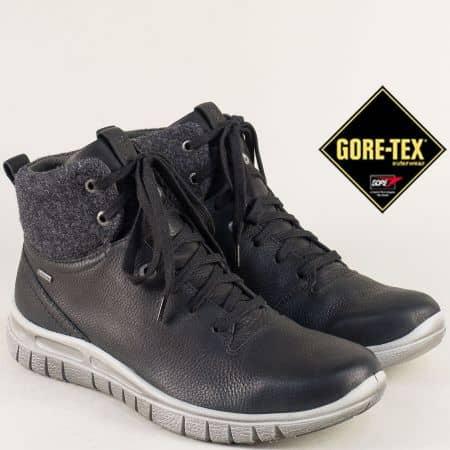 Мъжки боти от естествена кожа в черен цвят с Gore-Tex  100533ch