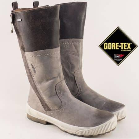 Сиви дамски ботуши на нисък ток с Gore-Tex мембрана 100602k
