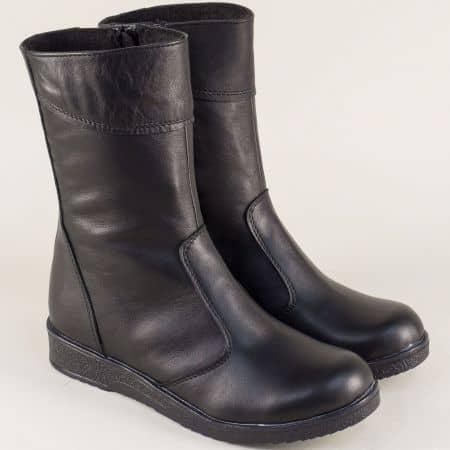 Черни дамски боти от естествена кожа на комфортно ходило 1006656ch