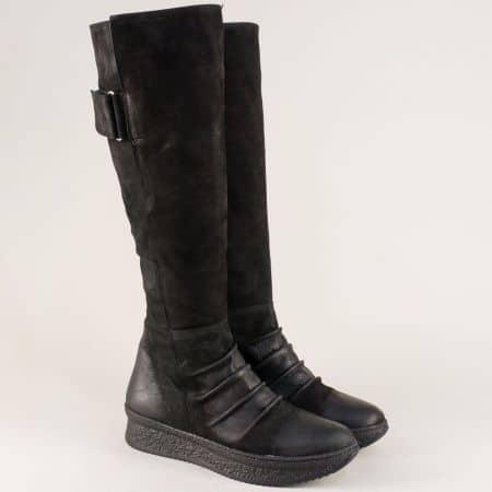 Черни дамски ботуши от естествен набук на платформа  1006nch