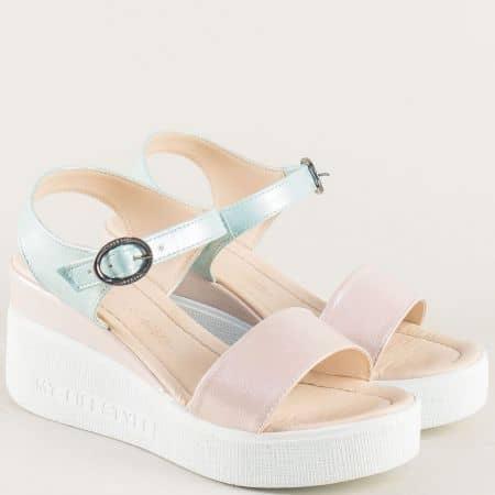 Дамски сандали в розово и зелено с перлен блясък 100753rzz