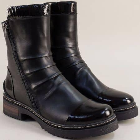 Черни дамски боти от естествена кожа 100857ch