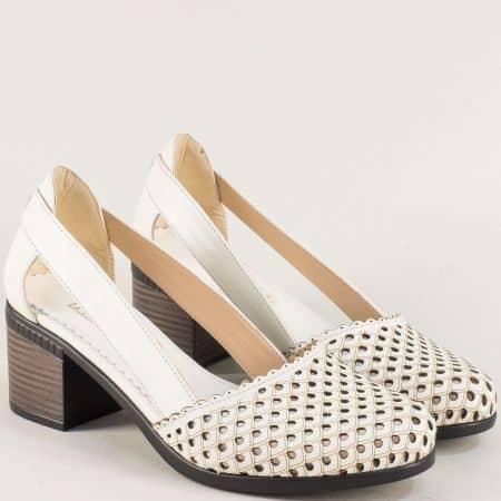Бежови дамски сандали на среден ток с кожена стелка 1009559bj