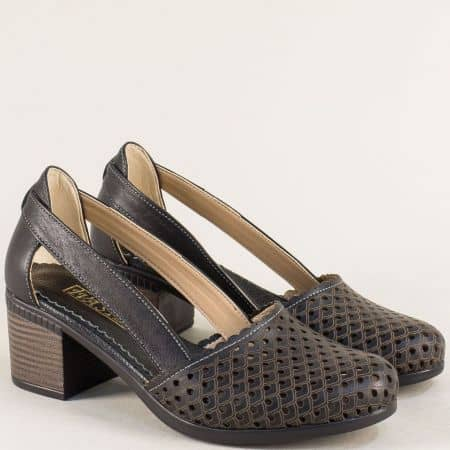 Перфорирани дамски сандали на среден ток в черен цвят 1009559ch
