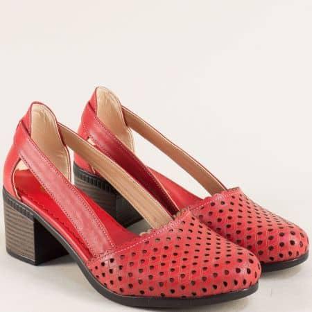 Кожени дамски сандали в червен цвят на среден ток  1009559chv