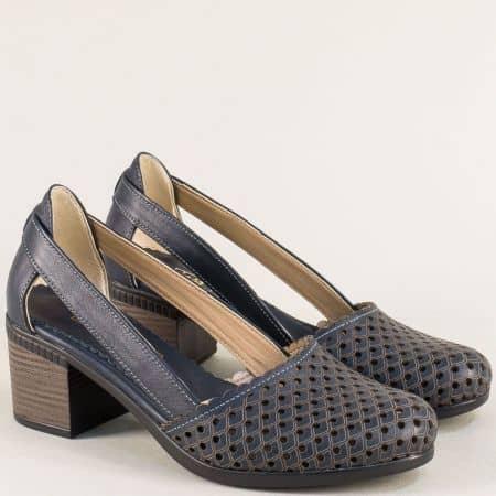Тъмно сини дамски сандали със затворени пръсти и пета 1009559s
