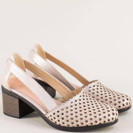 Дамски сандали в розов цвят с лазерна перфорация 1009559srz