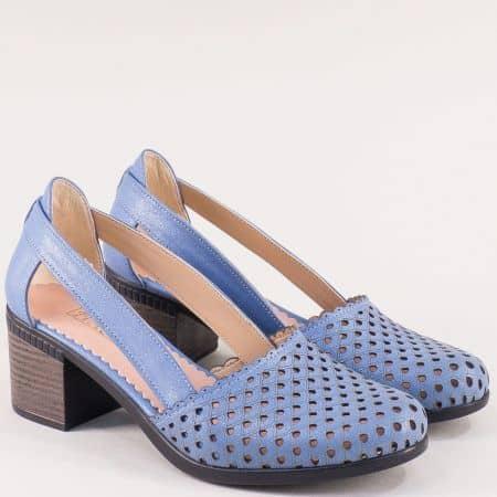 Дамски светло сини обувки на среден ток от естествена кожа 1009559ss
