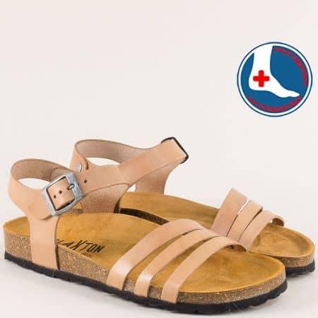 Бежови дамски сандали с велурена стелка- PLAKTON 101007bj