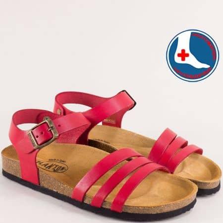 Дамски сандали от естествена кожа в червен цвят-  PLAKTON 101007chv
