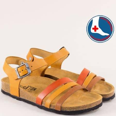 Дамски сандали в кафяво, светло кафяво и оранж 101007jok