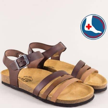 Дамски сандали в бежово, кафяво и тъмно кафяво-  PLAKTON 101007kbj