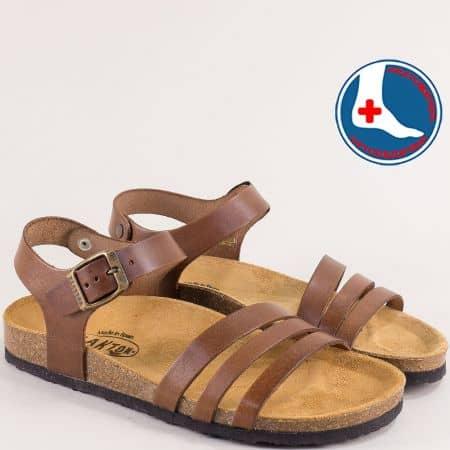 Тъмно кафяви дамски сандали от естествена кожа-  PLAKTON 101007kk