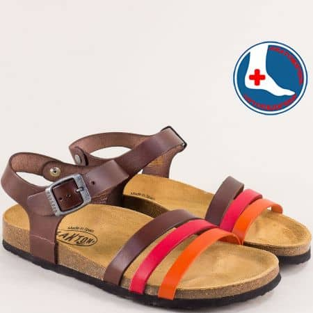 Дамски сандали в червено, тъмно кафяво и оранж- PLAKTON 101007kps