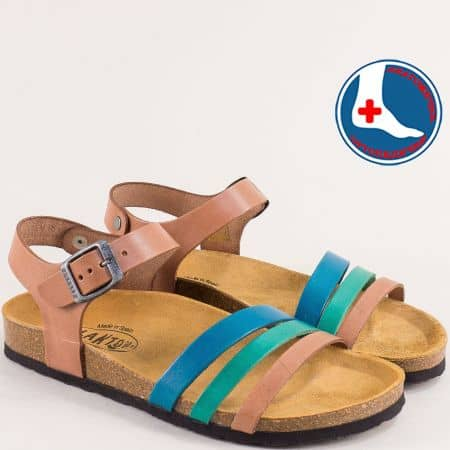 Дамски сандали в кафяво, синьо и зелено с велурена стелка 101007ksz