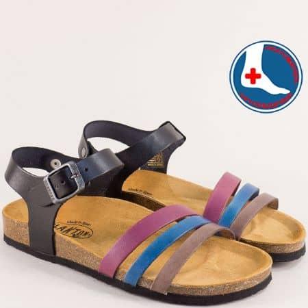 Дамски сандали в черно, лилаво, синьо и тъмно кафяво- PLAKTON 101007lps