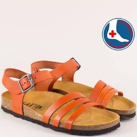Оранжеви дамски сандали с велурена стелка- PLAKTON 101007o