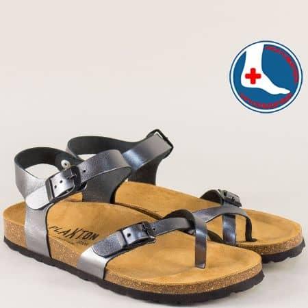 Бронзови дамски сандали от естествена кожа на Plakton 101016brz