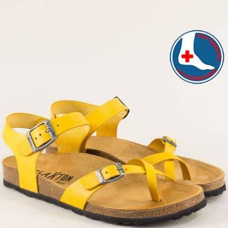 Кожени дамски сандали в жълто с велурена стелка и две катарами- PLAKTON 101016j