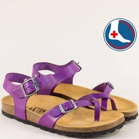 Испански ортопедични сандали от естествена кожа в лилаво 101016l