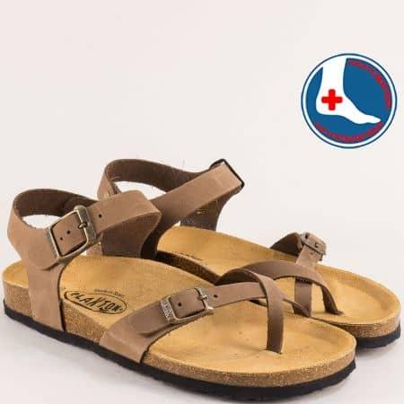 Кафяви дамски сандали от естествена кожа с две катарами- PLAKTON 101016nk