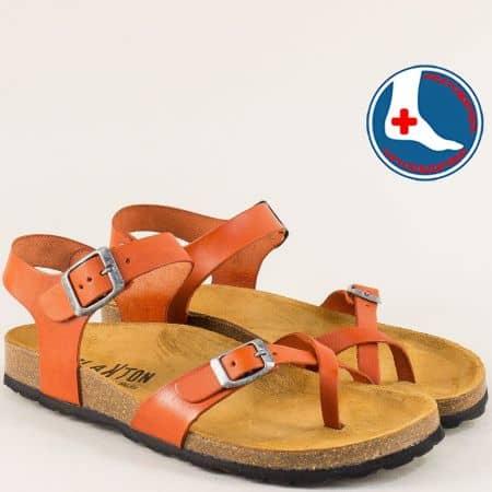Кожени дамски сандали в оранж с велурена стелка и две катарами- PLAKTON 101016o