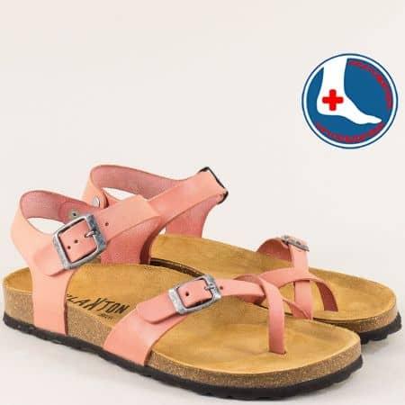 Кожени дамски сандали в розово с велурена стелка и две катарами- PLAKTON 101016rz