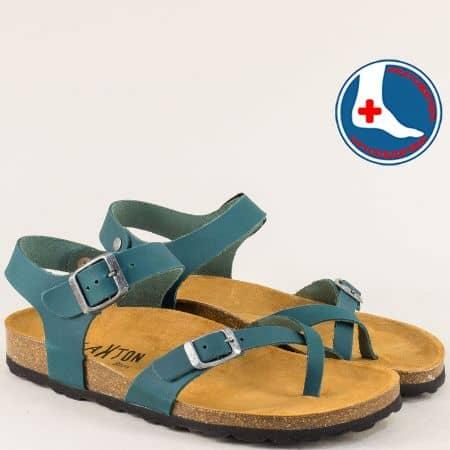 Сини дамски сандали от естествена кожа с две катарами- PLAKTON 101016s1