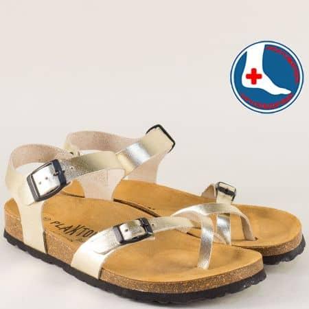 Кожени дамски сандали в злато с велурена стелка и две катарами- PLAKTON 101016zl