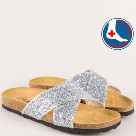 Сребристи дамски чехли на равно анатомично ходило 101051tsr