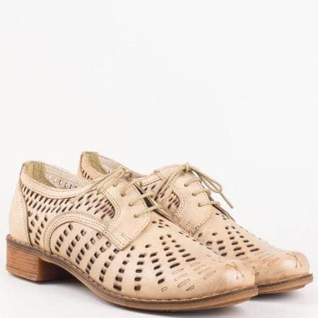 Ортопедични дамски обувки с връзки изцяло от естествена кожа с перфорация в кафяво 1011906k