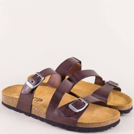 Тъмно кафяви дамски чехли от естествена кожа 101210kk