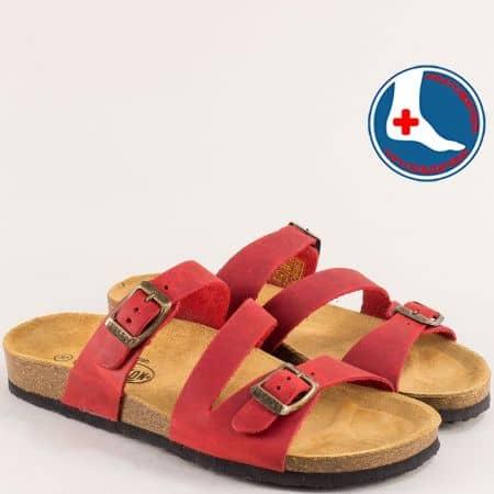 Червени дамски чехли с две катарами от естествен набук- PLAKTON 101210nchv